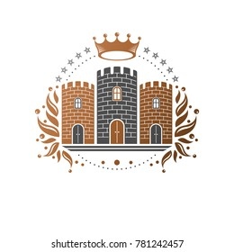 Ancient Fort emblem. Heraldic Coat of Arms decorative logo isolated illustration. Antique logotype in old style on white background.