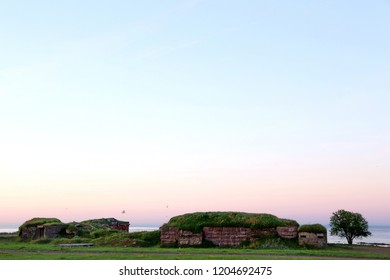 ancient fortification by the sea on the sunrise