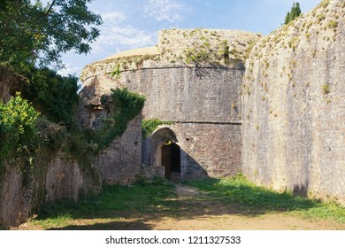 Ancient fortifications. Montenegro . Walls of Spanjola Fortress  ( Spanish fortress ) in Herceg Novi city