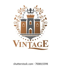 Ancient Fortress emblem. Heraldic Coat of Arms, vintage logo. Ornate logotype in old style on isolated white background.