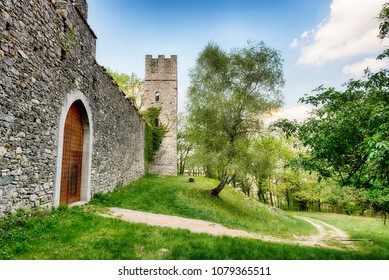 ancient fortress of Orino in the woods of the regional park Campo dei Fiori Varese