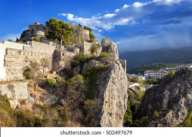 the ancient fortress San Jose castle in Guadalest, Spain