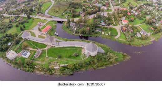 An ancient fortress in the village of Staraya Ladoga, Leningrad region, Russia. Photo from a high point.