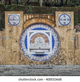 Ancient fountain with a picture of ceramic tiles in the Sintra - Portugal