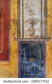 Ancient fresco painting from the ruins in Pompeii, Italy.