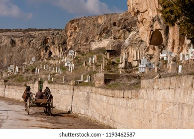 In the ancient frig valley; ancient settlements, later built Muslim cemetery and horse carriage. Ayazini village of Afyonkarahisar, Turkey