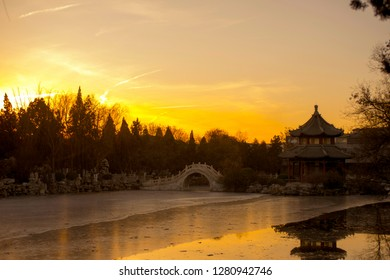 Ancient garden architecture in Baoding city of China.