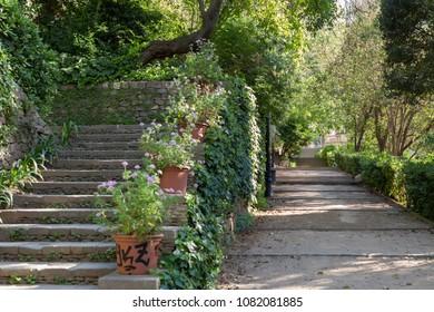 Ancient gardens Jardins de Laribal in Montjuic park of Barcelona.Spain.