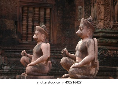 Ancient Garuda  statues (selective focus) in Banteay Srei temple, Siem Reap, Cambodia.