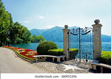 Ancient gate of Ciani Park, in Lugano, Switzerland