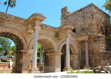 Ancient gate of Roman emperor Adrian in Antalya city, Turkey
