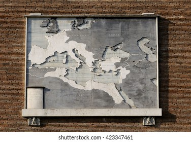 Ancient geographical map of the Roman Empire in polychrome marble on the perimeter wall of the Basilica of Maxentius in Via dei Fori Imperiali, Rome, Italy