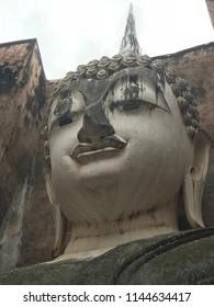 Ancient giant buddha image in Sukhothai era, Thailand