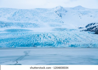 Ancient Glacial floods in Skaftafell Vatnajökull national park in Iceland. Its texture is blue and cold, It is iceberg and best place for tourism.