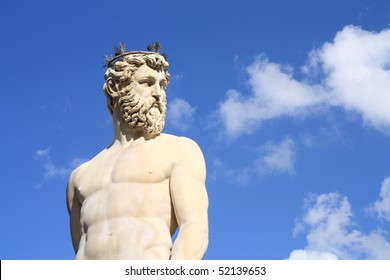 Ancient god with blue sky as background.