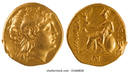 Ancient gold coin of Greece.