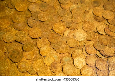 Ancient gold coins as background