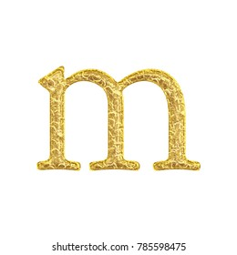 Ancient gold style lowercase or small letter M in a 3D illustration with a worn old fashioned cracked texture golden antique bookletter font isolated on a white background with clipping path.