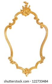 Ancient golden frame with ornaments over a white background