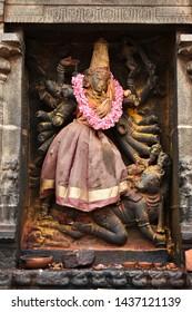 """Ancient granite Idol depicting the Mahishasuramardhini pose (Killing a demon known as Mahishasura) of Goddess Durga found inside Thillai Nataraja temple at Chidambaram, Tamilnadu, South India"""