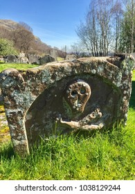 Ancient grave stone in Logie Kirkyard near Stirling, Scotland, taken on 27th March 2017