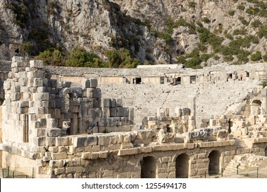 Ancient Greco-Roman Theater of Mira, Demre, Turkey. Famous historical touristic place.