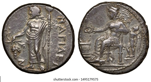 Ancient Greece Cilicia City of Nagidos silver coin stater 370-365 BC, Dionysus with thyrsus and grapes, Aphrodite and Eros in front of altar,