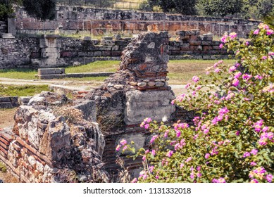 Ancient Greek Agora, Athens, Greece. It is one of the main tourist attractions of Athens. Scenic view of the Agora of Athens in summer. Flowers grow on the vintage ruins in Athens center.