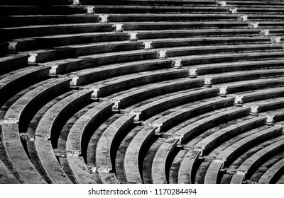 Ancient Greek Amphitheater in Athens.  Black and white architecture photography