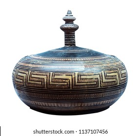 ancient greek amphorae for olive oil isolated on the white background