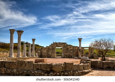 Ancient Greek basilica and marble columns. Chersonesus Taurica near Sevastopol in Crimea