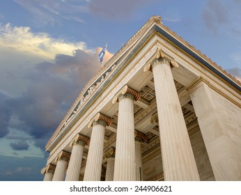 ancient greek building with pillars and columns in Athens Greece