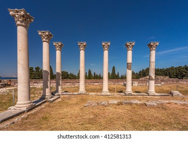 Ancient Greek Columns, Asklepion of Kos island. Greece.