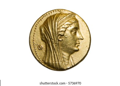 Ancient greek gold coin ca 300 bc isolated on white