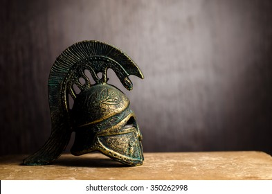 Ancient Greek Helmet Spartan Style Isolated on black