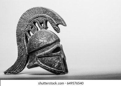 Ancient Greek Helmet Spartan Style Isolated on red