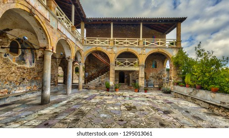 Ancient greek house in the medieval Byzantine ghost town-castle of Mystras, Peloponnese, Greece