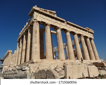 Ancient Greek parthenon temple in Greece