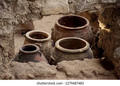 Ancient Greek pots and amphora discovered in the  ruins 0f Akrotiri on Santorini, Greece
