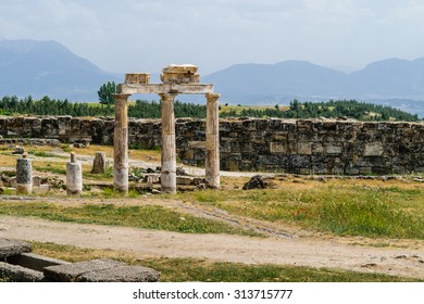 The ancient Greek and Roman city of Hierapolis (Taurus mountains, Pamukkale in Turkey).