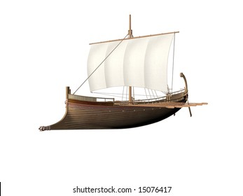 An Ancient Greek ship isolated over white