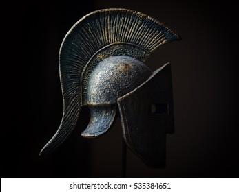 Ancient greek Sparta type helmet in Low Key. Display model.