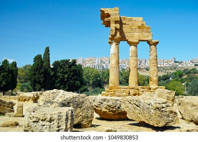 Ancient Greek Temple of the Dioscuri, Valley of the Temples, Agrigento, Sicily