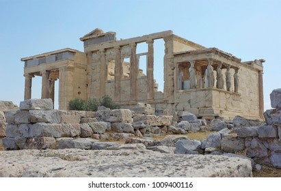 Ancient Greek temple Erechtheion on the north side of the Acropolis of Athens, Greece
