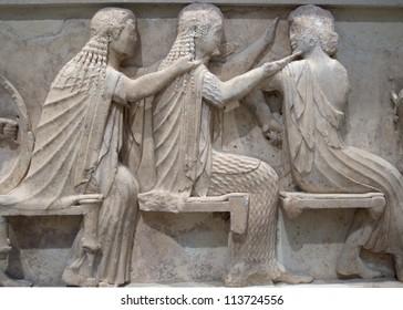 Ancient Greek Temple Frieze detail, Delhpi, Greece