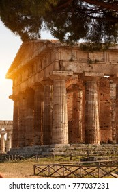 ancient Greek temple in Paestum Italy with blue sky in a sunny day