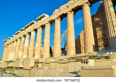 Ancient Greek temple Parthenon on Acropolis at sunset. Greece.