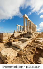 The Ancient Greek temple of Poseidon at Cape Sounion, Athens, Greece
