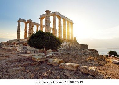 The Ancient Greek temple of Poseidon at Cape Sounion, one of the major monuments of the Golden Age of Athens. Scenic temple ruins with Doric-style columns, offering sweeping views of the sea.