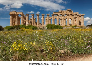 Ancient Greek temple in Selinunte, Sicily, Italy. Detail view